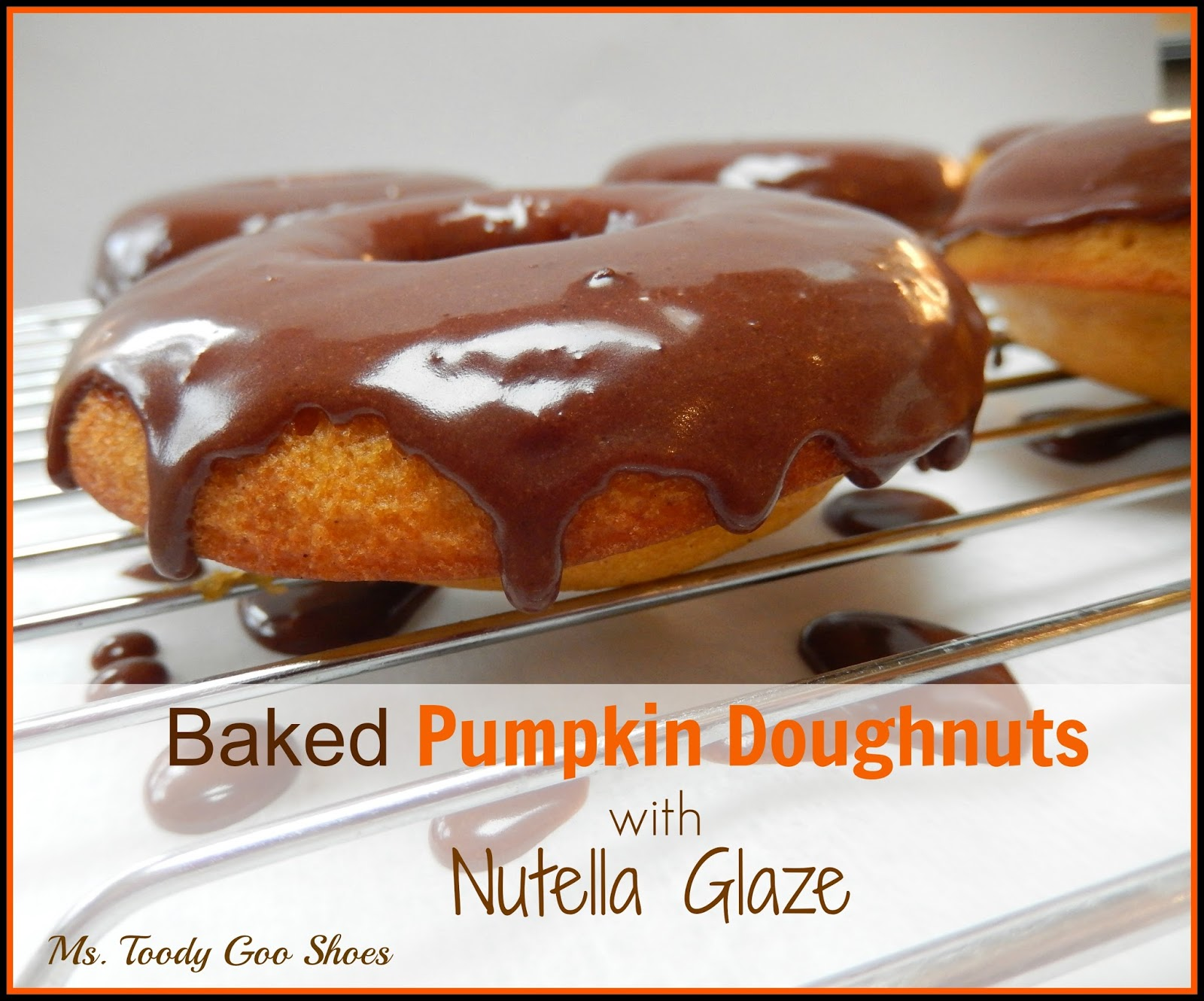 Baked Pumpkin Doughnuts with Nutella Glaze: These couldn't be easier...one bowl, no electric mixer needed.  By Ms. Toody Goo Shoes
