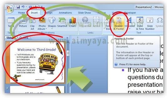 Gambar:  Cara mengatur header dan footer di slide presentasi powerpoint