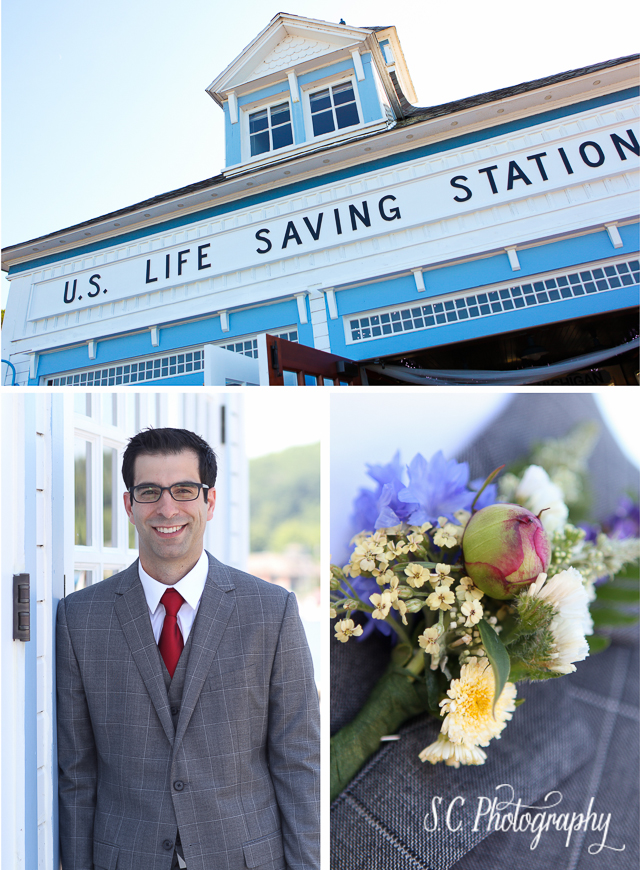Elberta Lifesaving Station, Michigan Wedding, Groom, Boutonniere