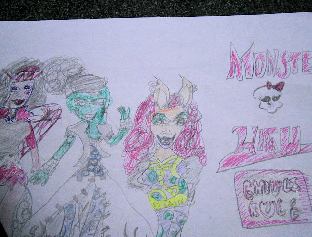 9 year old drawing monster high ghouls rule dolls