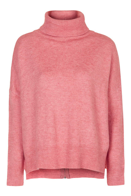 pink roll neck jumper, zip back pink jumper,