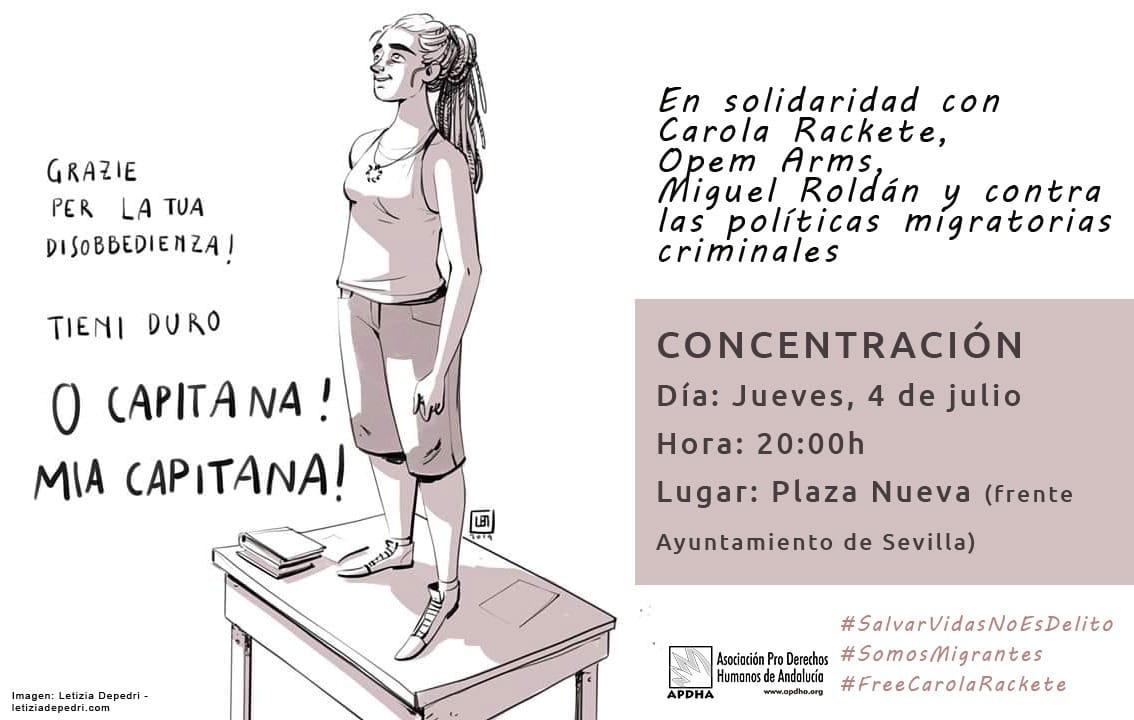 Concentración en Solidaridad con Carola Rackete, Opem Arms, Miguel Roldan y contra las políticas