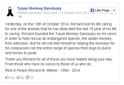 informasi resmi dari laman facebook Tulum Monkey Sanctuary