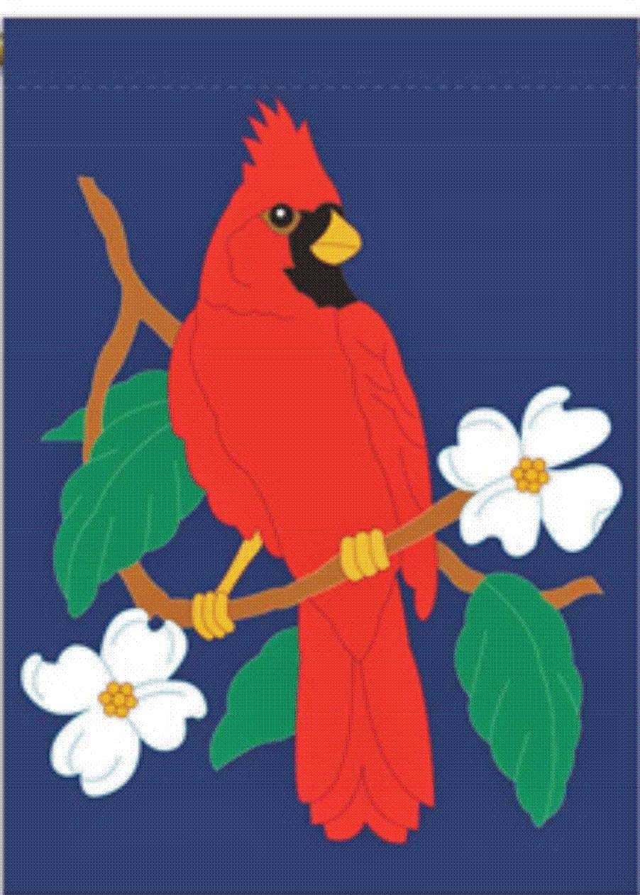 cardinal applique spring garden flag