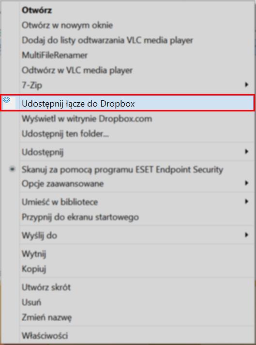 """Opcja """"Udostępnij łącze do Dropbox"""""""