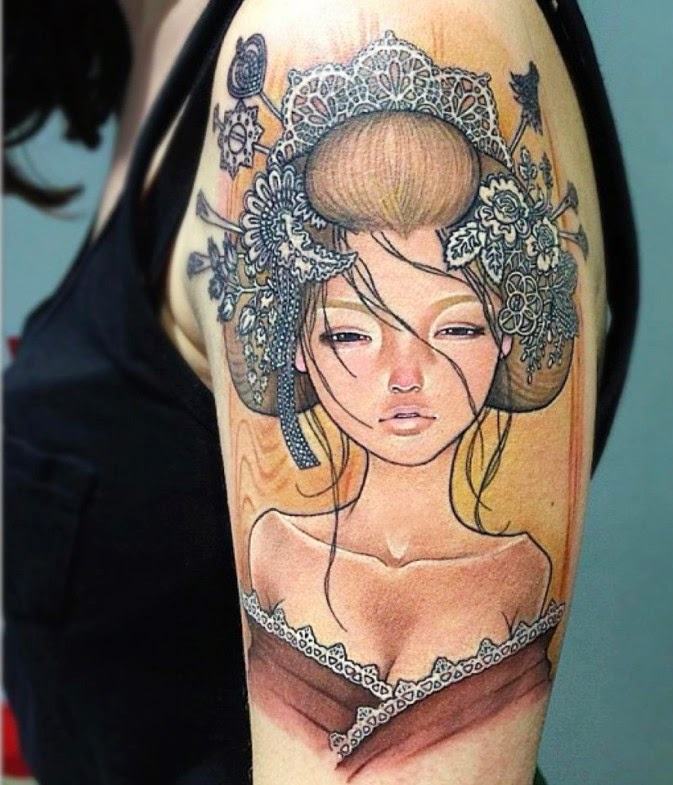 Amazing Geisha Tattoo on Sleeve
