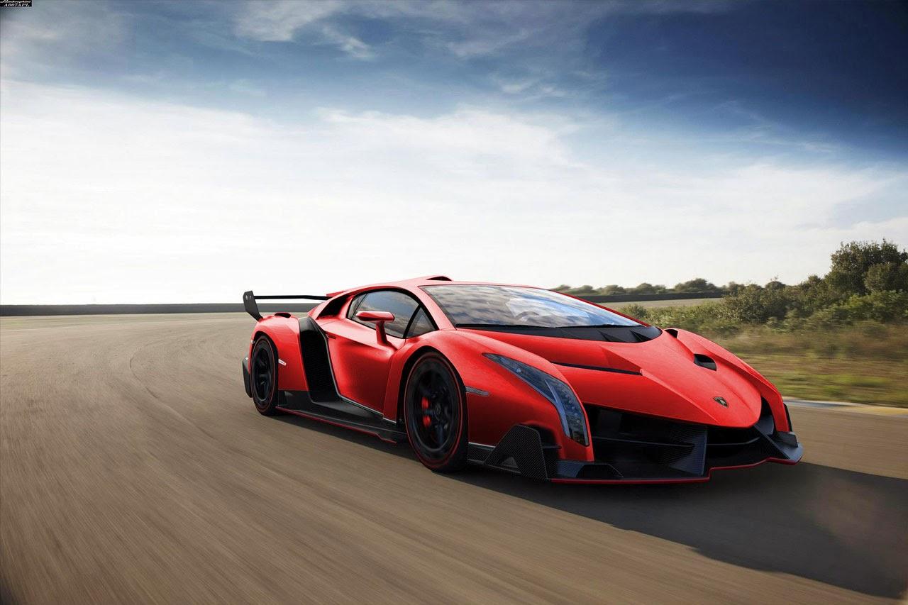 Mobil Keren Lamborghini Veneno Red Front Side View
