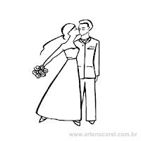 Desenhos de noivinhos para convites de casamento