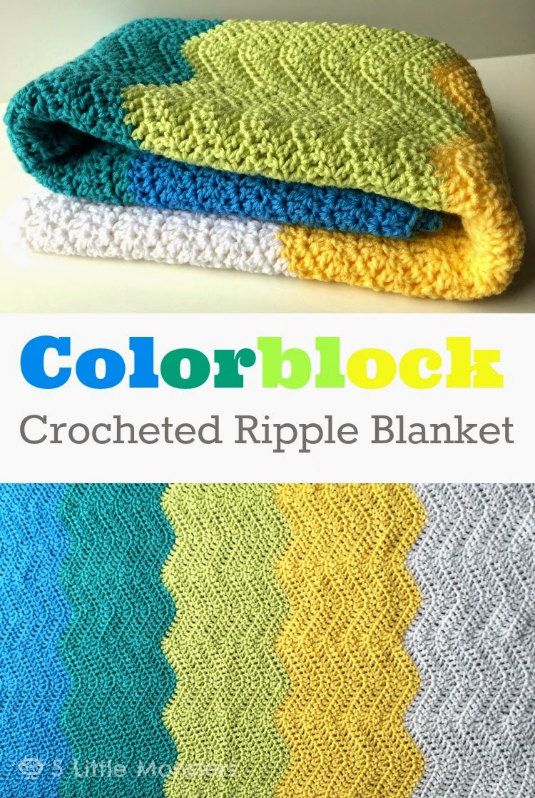 Colorblock Crocheted Ripple Baby Blanket
