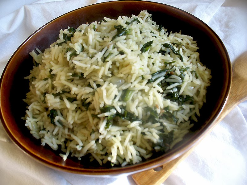 Spinach Rice (Palak Pulao) | Lisa's Kitchen | Vegetarian Recipes ...
