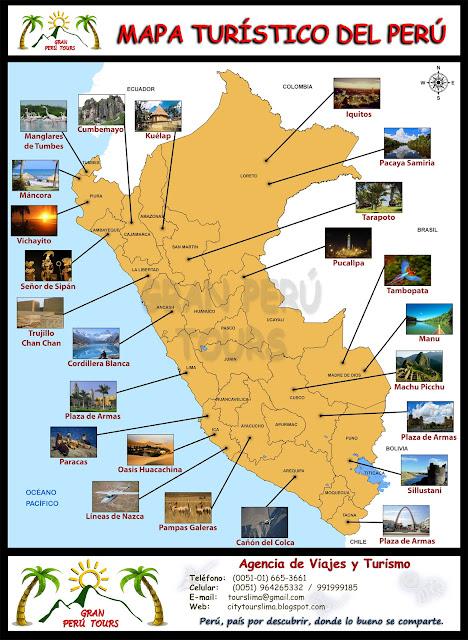 Mapa turistico del Peru - Gran Peru Tours