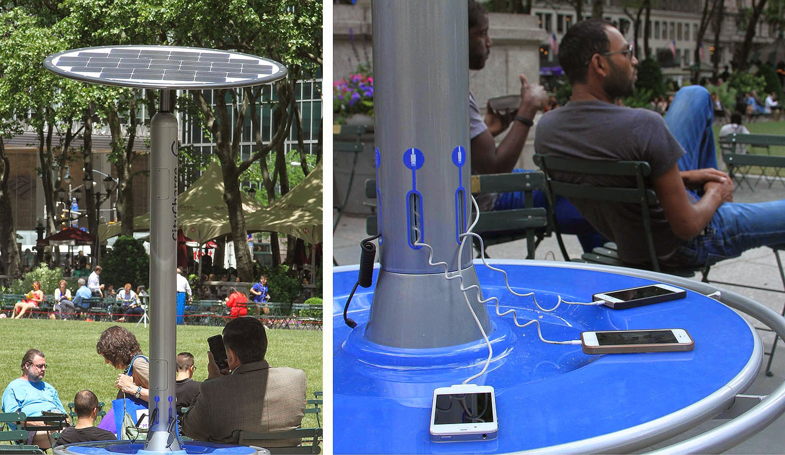 Bryant Park Blog: Solar-Powered Charging Stations Land in Bryant Park