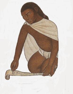 Tlacuilo del mural de Diego Rivera