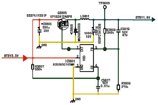 Hình 38 - Sơ đồ nguyên lý mạch hạ áp từ 3.3V xuống 1.8V