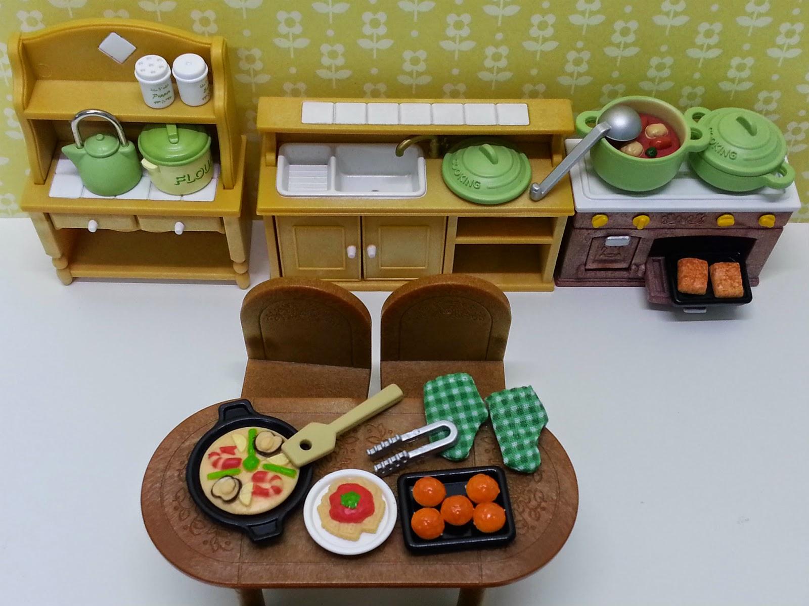 Jane ch rie sylvanian families kitchen cooking set for Kitchen kit set