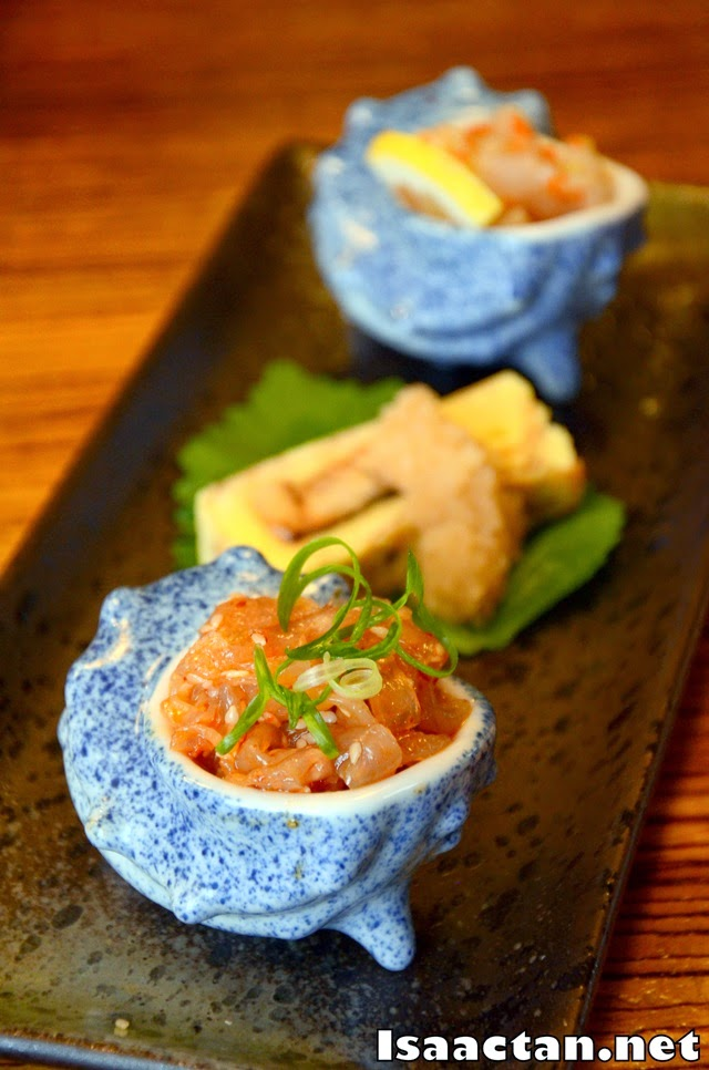 maki tamago (egg roll with unagi filling), chuka kurage (marinated jellyfish) and ika tobiko ai (marinated squid with flying fish roe)