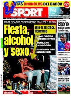 """""""Fiesta, alcohol y sexo. Este es tu crack, Florentino"""" (Sport 12/06/2009)"""