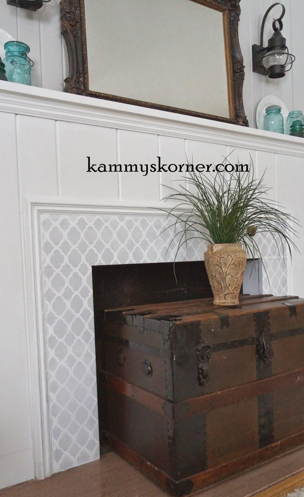 Kammy S Korner Stenciled Granite Fireplace Cutting Edge