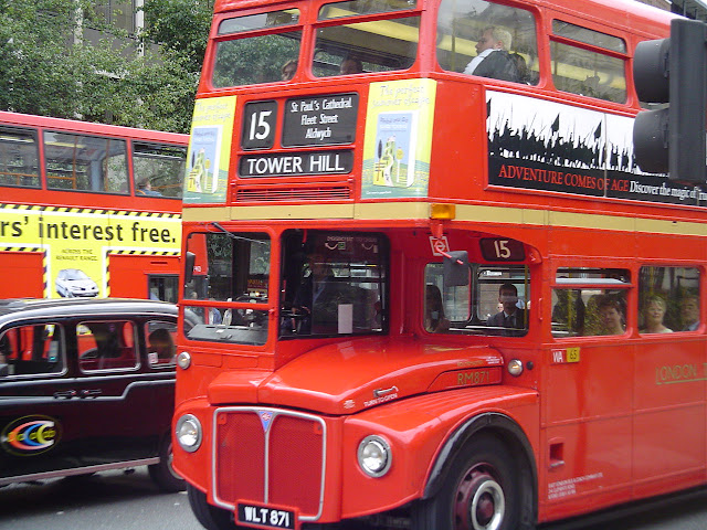 London double decker red bus Routemaster route 15
