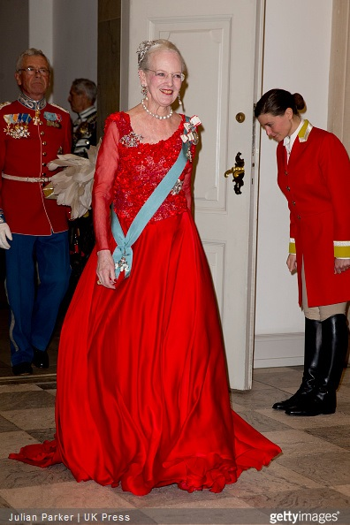 Queen Margrethe II of Denmark attends a Gala Dinner at Christiansborg Palace on the eve of The 75th Birthday of Queen Margrethe of Denmark