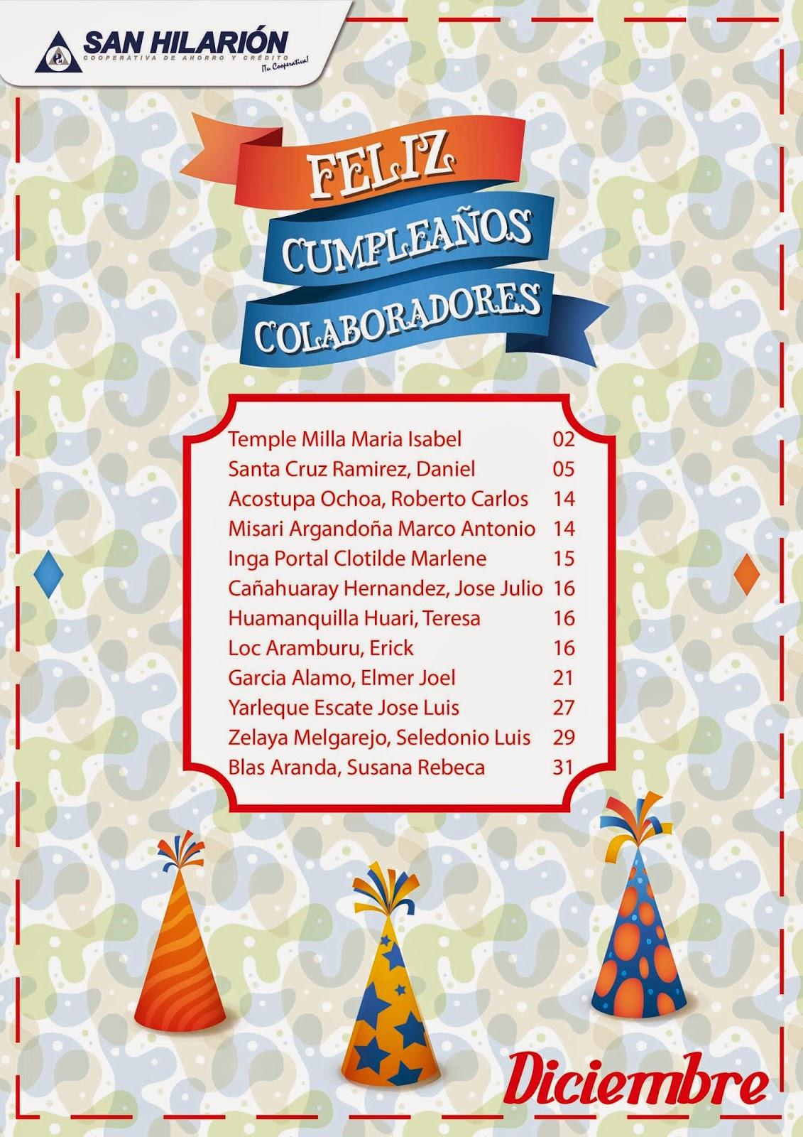 Cooperativa San Hilarión: #Diciembre: ¡Feliz Cumpleaños a nuestros ...