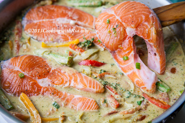 The salmon will spring forth its delicious juices for Jamaican steam fish recipe