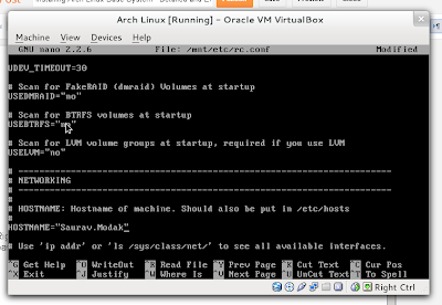 configuring hostname arch linux