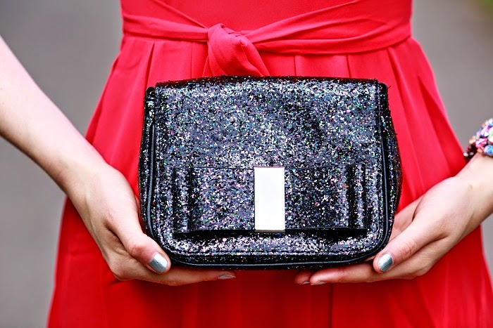 FF, sequin purse, statement clutch, red dress, WalG, sexy