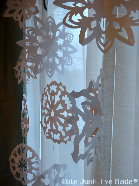 Paper Snowflake Curtain Tutorial - Finished Product Close Up