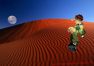 Ben 10 desktop Posters Wallpapers Teen Hero Running in Red Moon Desert background