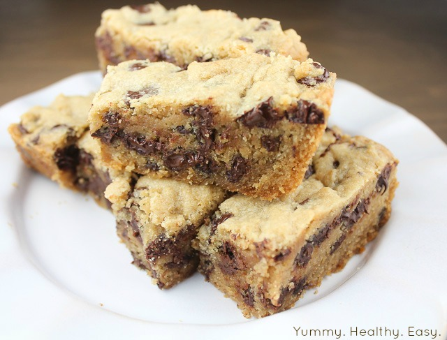 A rich, decadent Chocolate Chip Butterscotch Bar is best served with a big glass of milk. :)