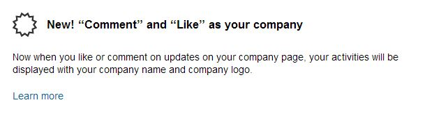 New - Comment and Like as your linkedin Company page