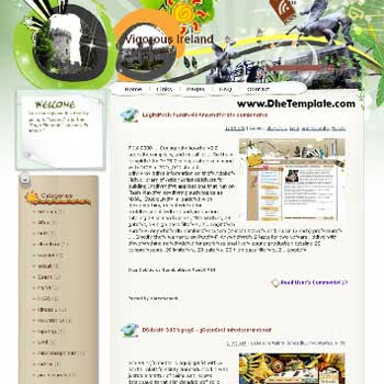 Vigorous Ireland blogger template. template blog from wordpress. blogger template for travel blog