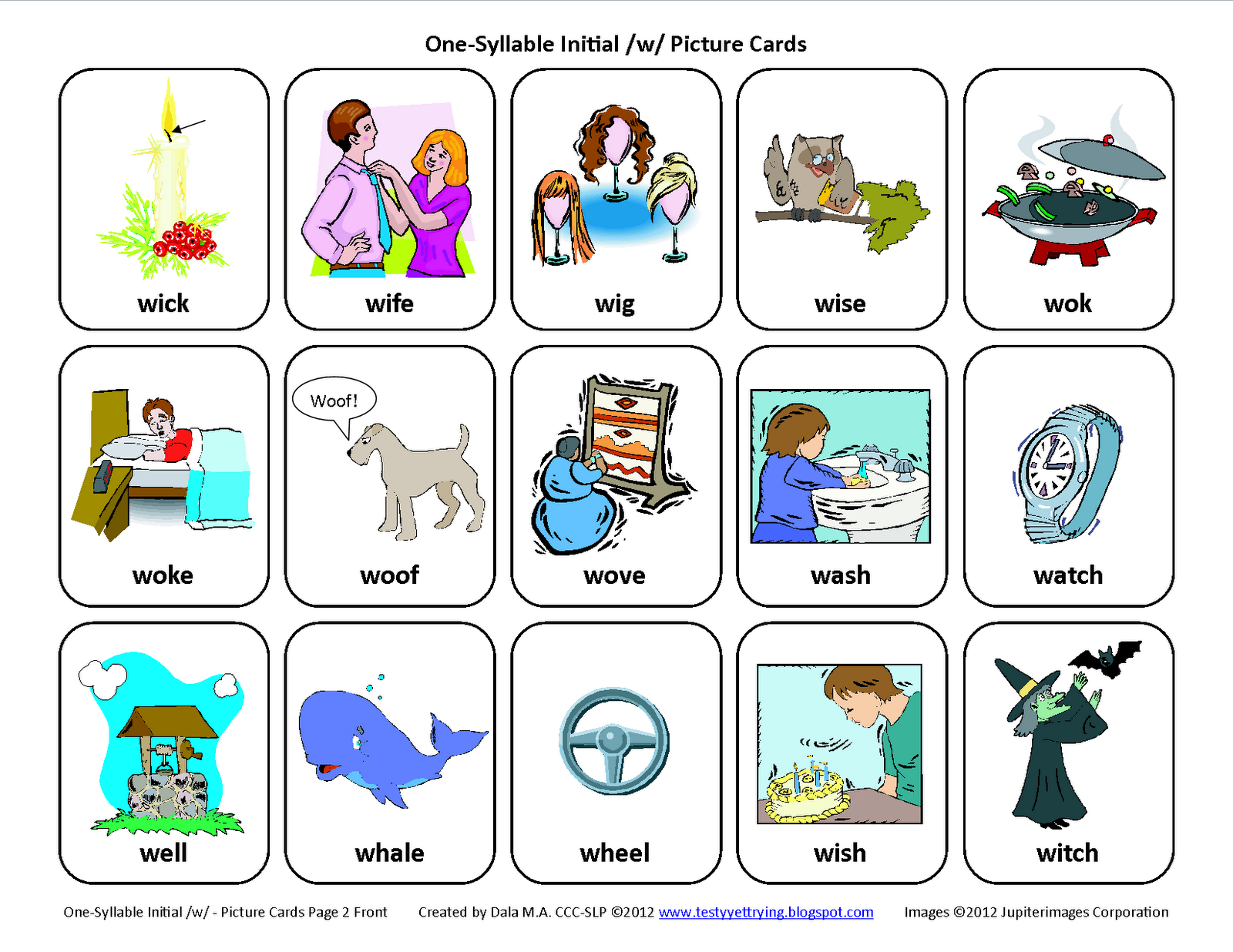 Initial W Free Speech Therapy on Computer Cl Worksheets For Kindergarten
