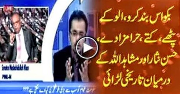 Abusive Fight Between Hassan Nisar and Mushahidullah Khan In Live Show