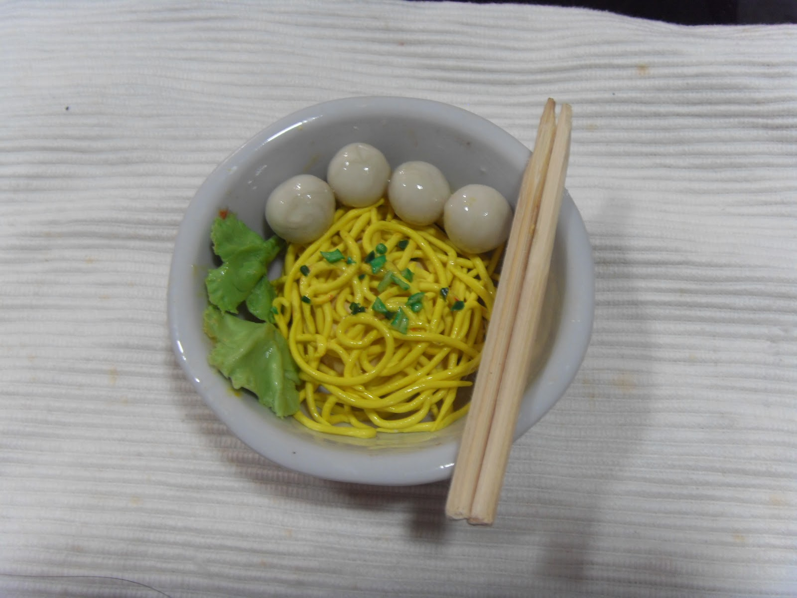 Kin 39 miniature workshop handmade clay food by kin quek for How to make fishing noodles