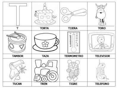 Laminas con dibujos para aprender palabras y colorear con letra: T