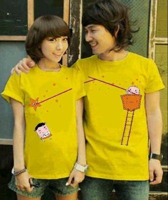 Jual Online Kaos Couple Online Murah di Jakarta Warna Kuning Bahan Combed