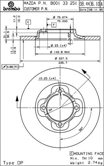 Brake Disc Mazda 323 (08.4436.10)