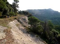 La cinglera de sota el Puig Rodó i al fons la Serra de Barnils amb el Puig Oriol, des del avituallament de Roca-Sitjana