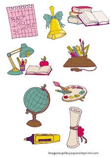 lapices, colorines, bola del mundo El colegio para imprimir