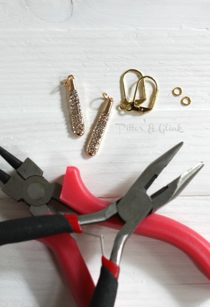 Easy DIY Gold & Rhinestone Earrings pitterandglink.com #jewelrytutorial