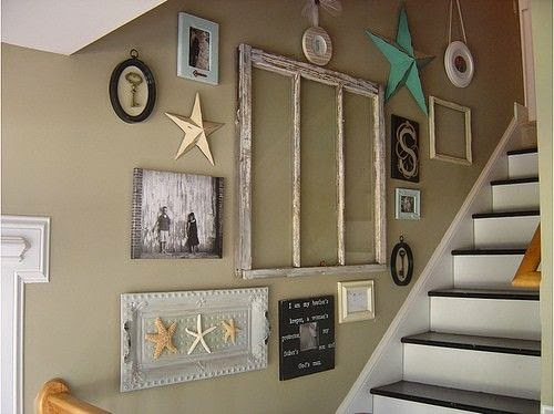 Ideas For Wall Decor On Stairs : Creative staircase wall decorating ideas art frames