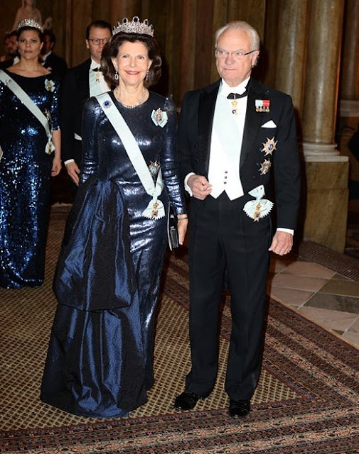 King Carl Gustaf and Queen Silvia of Sweden hosted the traditional dinner for this year's Nobel Laureates at the Royal Palace