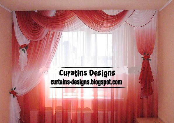 ready made curtains, modern curtain designs, red curtains