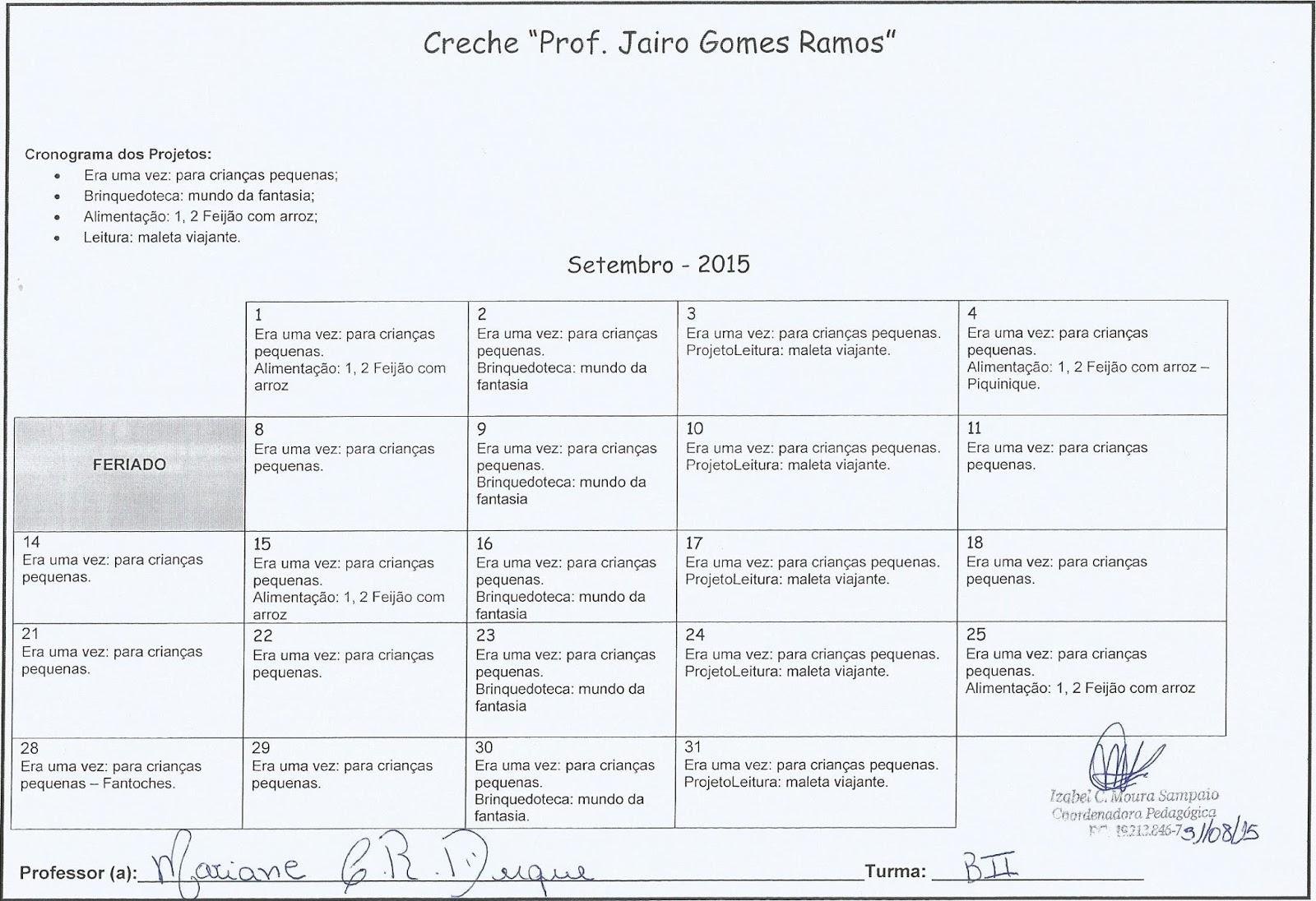 Suficiente Coordenação Pedagógica - Izabel C. M. Sampaio: CRONOGRAMA DOS  JN24