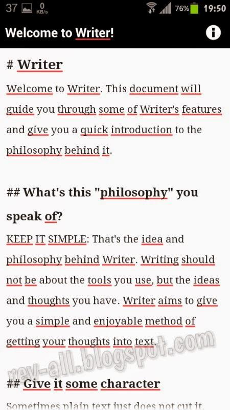 Dokumen contoh Writer - aplikasi android notepad simpel dan ringan otomatis menyimpan di memori (rev-all.blogspot.com)