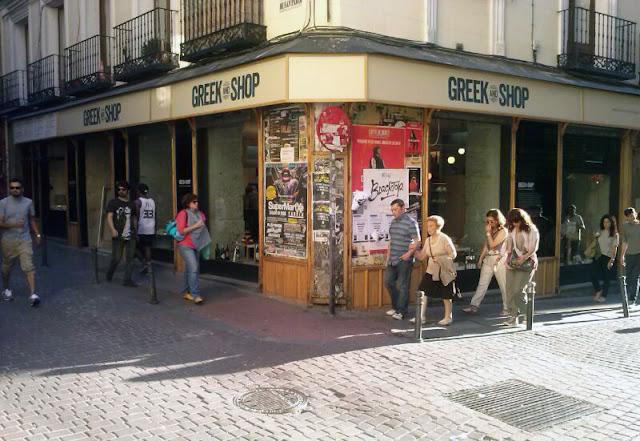 Fachada del Greek & Shop, Malasaña.