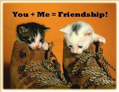 You + Me = Friendship .