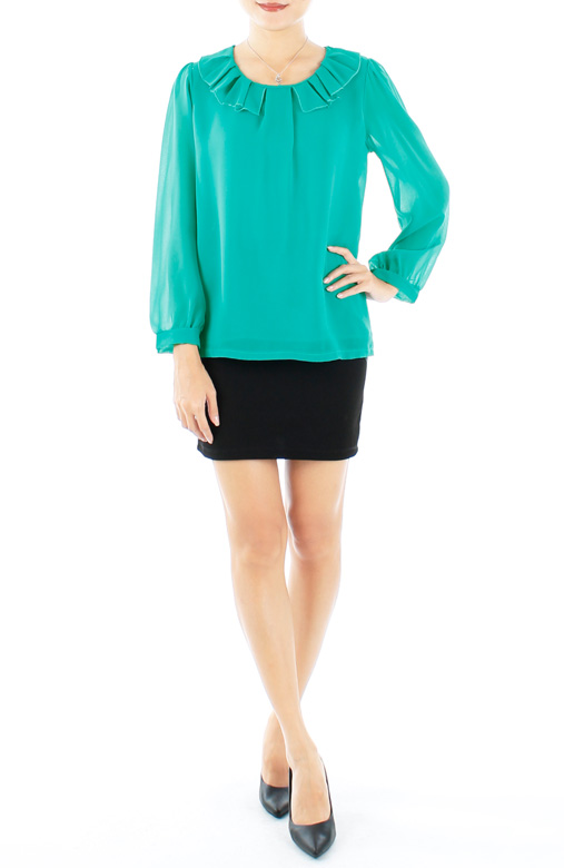 Seagreen Daylily Wide Pleat Long Sleeve Blouse
